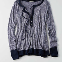 Don't Ask Why Knit Henley , Blue