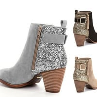 Hot style sells sequined zipper plus-size low-cut boots for women