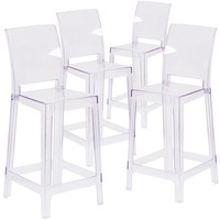 4 Pk. Ghost Counter Stool in Transparent Crystal with Square Back