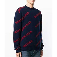 Balenciaga New fashion more letter print couple long sleeve top sweater