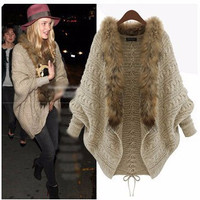 Fur Collar Back Lace Down Knitted Cardigan