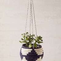 Indego Africa Woven Hanging Planter- Navy One