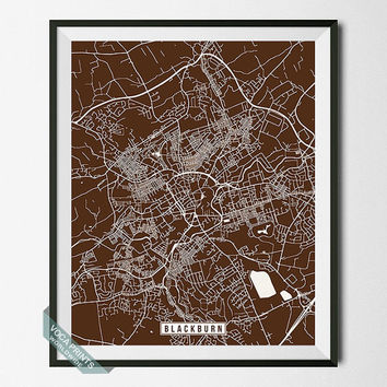 Blackburn Print, England Poster, Blackburn Poster, Blackburn Map, England Print, Street Map, England Map, Room Decor, Wall Art