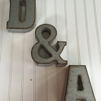 Decorative Metal Letters/ Wall Letter Sign / Signage / Rustic Industrial Wall Letters / Nursery / Wedding /Ampersand