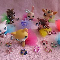 Littlest Pet Shop LPS 1 RANDOM Pet Party Set Accessories Lot Custom Tutu Bag