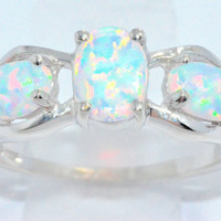 2 Carat Opal Oval Ring .925 Sterling Silver Rhodium Finish White Gold Quality