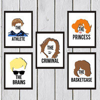 The Breakfast Club Art Collection, Art Print, typography art print,chalkboard art, Disney, Wall Decor, Wall Hanging, Art Prints, Cameo