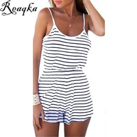 Striped Rompers Women's Jumpsuit 2016  Clearance Sale women Summer Backless Sexy Black White Playsuits Strap Overalls Playsuits