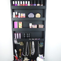 Black makeup and jewelry organizer - display - nail polish rack - beauty station - bedroom storage - wall hanging - wooden - handmade