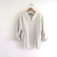 vintage slouchy sweater. off white sweater. henley pullover shirt. size L