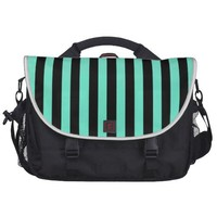 Mint Green And Vertical Black Stripes Patterns Laptop Commuter Bag from Zazzle.com