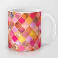 Hot Pink, Gold, Tangerine & Taupe Decorative Moroccan Tile Pattern Mug by Micklyn