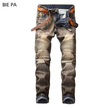 American style ripped jeans for men biker jeans golden trousers cool Male Casual fashion stretch Skinny jeans men #1905