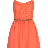 Lace Top Chiffon Dress With Belt - Living Coral