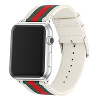 Apple Watch Band Strap Striped Nylon & Leather For iwatch Series 1 2 3 4 5