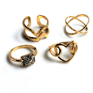 """""""Hearts And Diamonds"""" Gold Ring Set"""