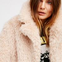 Free People Lux Faux Fur Coat With Printed Lining