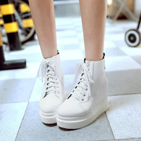 Women Round Toe Lace Up Wedge Platform Shoes Ankle Boots 5052