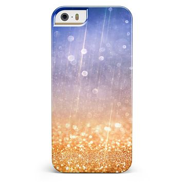 Blue and Orange Scratched Surface with Glowing Gold iPhone 5/5s or SE INK-Fuzed Case