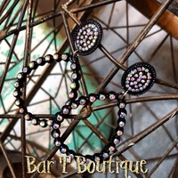 Mini Loretta Earrings - Black AB
