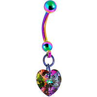 Handcrafted Genuine Light Vitrail Preciosa HEART Titanium Belly Ring MADE WITH SWAROVSKI ELEMENTS | Body Candy Body Jewelry