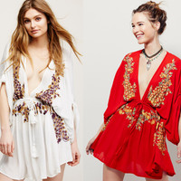 Embroidered Cotton Knit beach cover up women bikini dress sexy swimwear swim suit cape  for obese  Blouse Skirt Robe Sexy