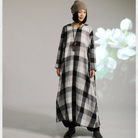 women maxi dress linen dress long sleeve dress plus size dress cause loose fitting dress autumn clothing long shirt dress give for women