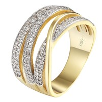 Infinity Womens 925 Sterling Silver Ring 14k Gold Finish Wedding Bridal Size 6-8