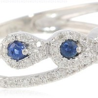 Sterling Silver Blue Sapphire and Diamond Paisley Ring (1/8 cttw, I-J Color, I2-I3 Clarity), Size 7