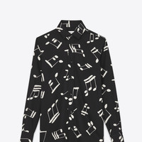 SAINT LAURENT PARIS COLLAR SHIRT IN BLACK AND OFF WHITE MUSICAL NOTE PRINTED VISCOSE TWILL | YSL.COM