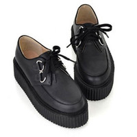 British Goth Punk Creepers Flats Lace up Skull shoes
