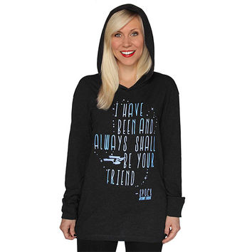 Spock Quote Ladies' Hooded Pullover - Charcoal Heather,