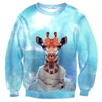 Realistic Dressed Up Giraffe Animal Portrait All Over Print Sweatshirt Sweater