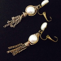 Vintage pearl tassel earrings clip on signed JAHAN