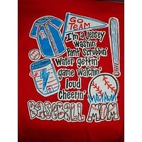 Southern Chics Funny Baseball Mom 4 Red Sweet Girlie Bright T Shirt