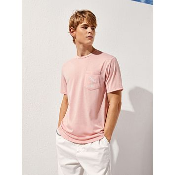 Men Letter and Plants Embroidered Top Without Bag