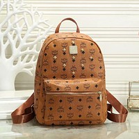 MCM classic full printed letters willow nails ladies shopping backpack school bag