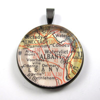 Vintage Map Pendant of Albany, New York, in Glass Tile Circle