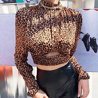 New fashion leopard waist hollow long sleeve top women