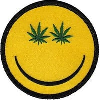 Weed Iron-On Patch Round Smiley Leaf Eyes