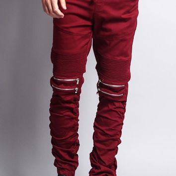 Scrunch Stacked Biker Twill Jogger Pants