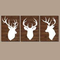 DEER Wall Art CANVAS or Prints Country Nursery DEER Baby Boy Nursery Boy Bedroom Wall Art Set of 3 Rustic Decor Wood Effect