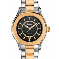 Ferragamo Mens Stainless Steel with Gold IP Lungarno Watch