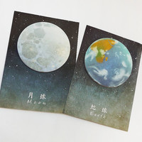 Planet Sticky Notes - Space Stationery, Lunar, Moon Memo Pad, Organiser Planner Stickers, Earth, Kawaii, Zodiac, Bullet Journal, Astronomy