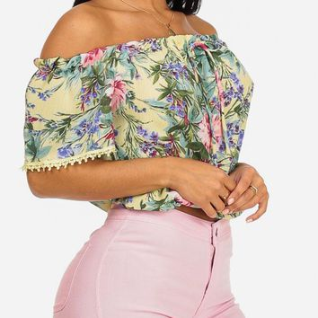 Yellow Off-Shoulder Floral Top