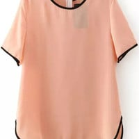 Contrast Trimmed Chiffon Pink Top