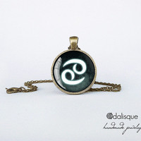 Cancer sign pendant European Zodiac necklace the crab water sign gift jewelry bronze for him for her jewellery key ring