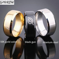drop ship ok gold plated anti allergy 2017 New width 8mm men Naruto rings stainless steel classic women ring jewelry hot fj411