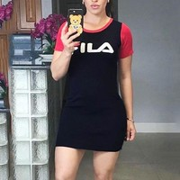 FILA Summer Fashion Women Sexy Print Short Sleeve Round Collar Slim Dress Red