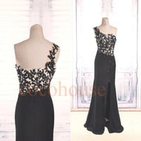 Black Lace Applique Beaded Long Prom Dresses 2015,One Shoulder Party Dresses, front slit Sexy Evening Dress, Wedding Party Dress,Formal Wear